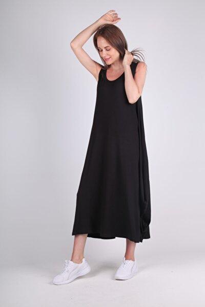 Kadın Siyah Uzun Viskon Elbise