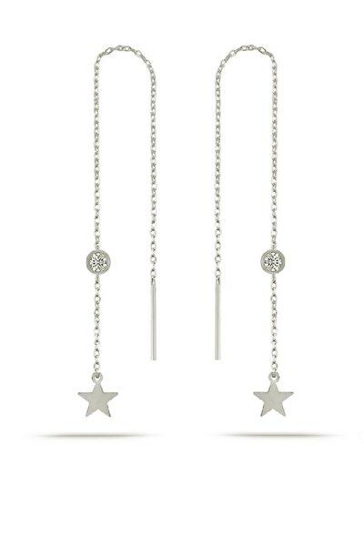 Gümüş Rodyumlu Yıldız Zirkon Taşlı Zincir Küpe Yıldız Sallantılı Küpe