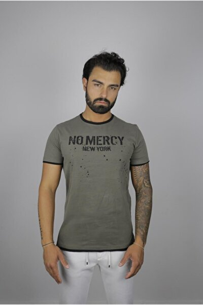 Erkek Haki No Mercy New Yorki Slim Fit T-shirt