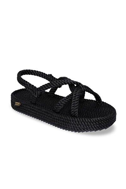 Bora Bora Platform Halat & İp Kadın Sandalet - Siyah