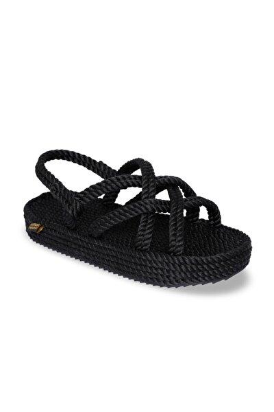 Bodrum Platform Kadın Halat & İp Sandalet - Siyah
