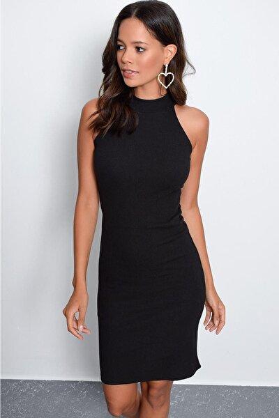 Kadın Siyah Kaşkorse Kolsuz Elbise Yİ1567
