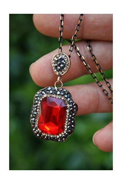 Kırmızı Kristal Taşlı El Yapımı Kadın Kolye ve Zincir