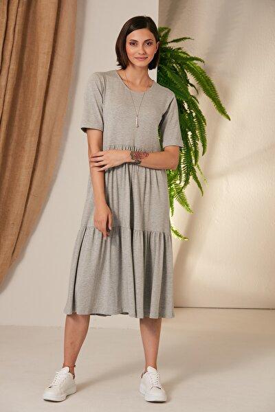 Kadın Gri Penye Elbise