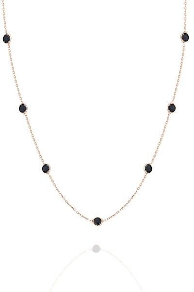 Gümüş 45 cm Rose Sıra Taşlı Oniks Siyah Taşlı Kolye Tiffany Kolye