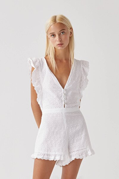 Kadın Beyaz Fırfırlı İsviçre Stili İşlemeli K��sa Tulum 09639300