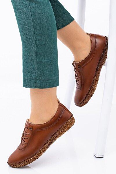 Kadın Ortopedik Taba Lastik Bağcıklı Içi Deri Alçak Topuklu Günlük Rahat Ayakkabı