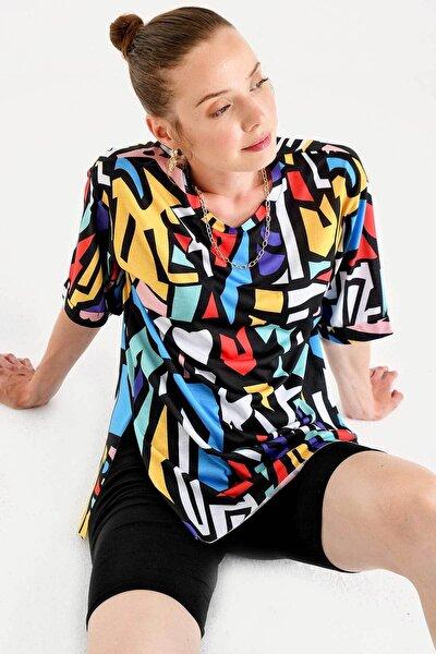 Kadın Siyah Grafik Desen T-shirt 4161