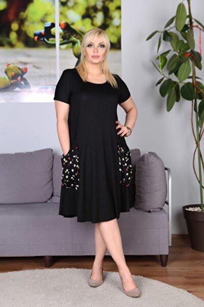 Kadın Siyah Cep Detaylı Salaş Elbise