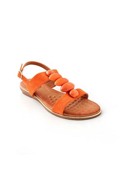 Kadın Turuncu Düz Taban Sandalet