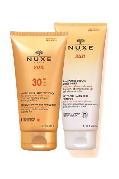 Güneş Koruyucu Yüz ve Vücut Sütü Spf30 150ml + Güneş Sonrası Nemlendirici Şampuan