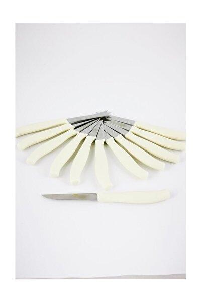 Paslanmaz Çelik Meyve Sebze Bıçağı 12'li Krem