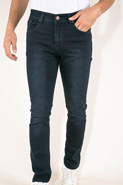 Dark Koyu Mavi Çizgili Likralı Hafif Taşlamalı Erkek Kot Pantolon
