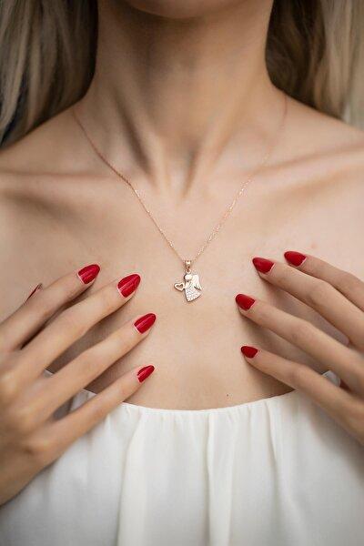 Kadın Kalpli Melek Model Zirkon Taşlı Rose Gümüş Kolye İZLASLVR00530