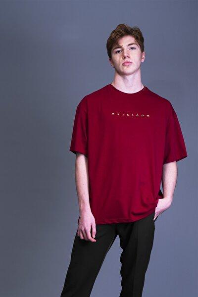 Erkek Bordo Nakışlı Oversize T-shirt