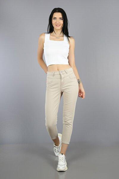 Kadın Bej Contalı Yüksek Bel Mom Jeans