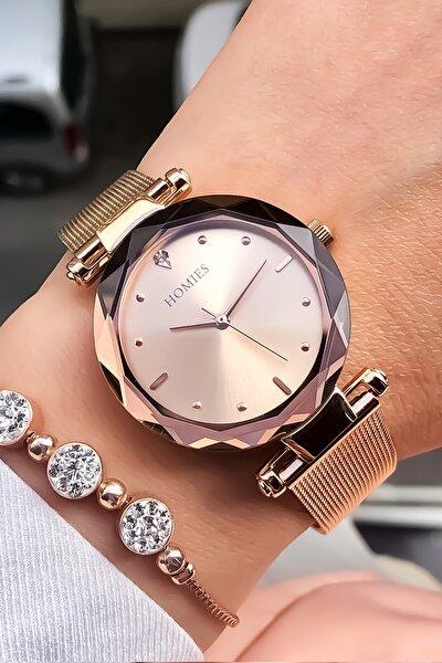 Kadın Pembe Kol Saati ve Bileklik