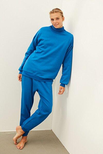 Kadın Mavi Jogger Pantolon IW6200028005