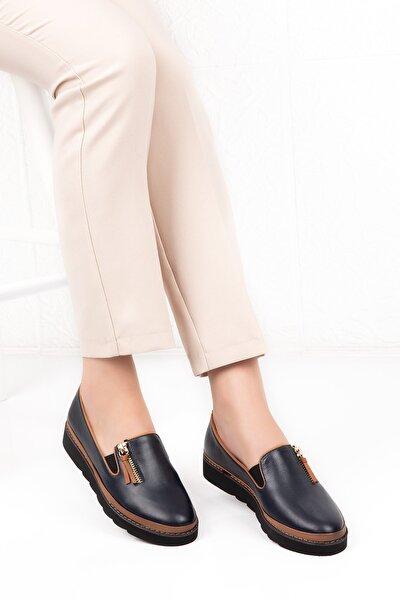 Kadın Lacivert Hakiki Deri Anatomik Taban Günlük Ayakkabı