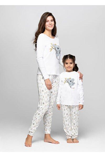 Anne Kız Ekru Koala Pijama Takımı