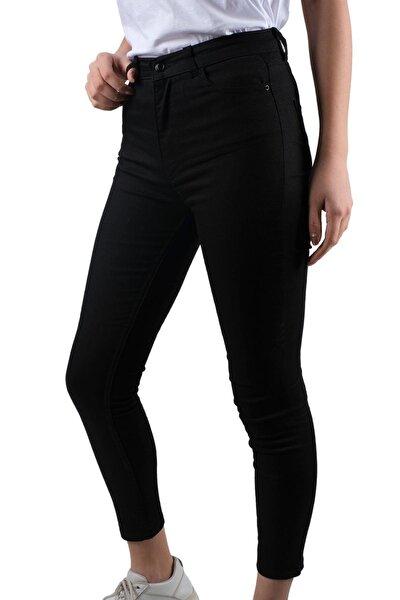 Kadın Siyah Yüksel Bel Gabardin Dar Paça Pantolon