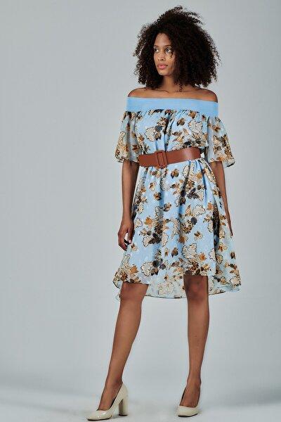 Kadın Mavi Çiçek Desenli Straples Elbise Je88961