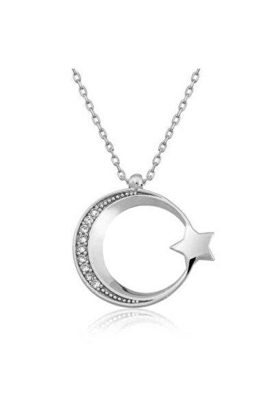 925 Ayar Gümüş Ay Yıldız Kolye