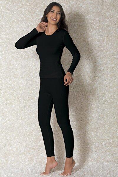 Kadın Siyah Viloft Yuvarlak Yaka Uzun Kollu Termal T-shirt 8570