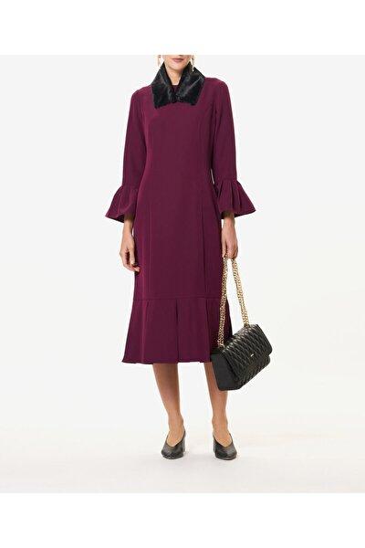 Kadın Mürdüm Kürklü Elbise