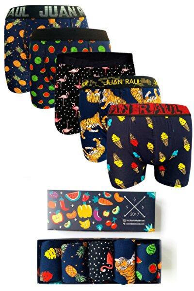 5'li Boxer Kutusu Renkli Desenli Pamuk Boxer Kutusu