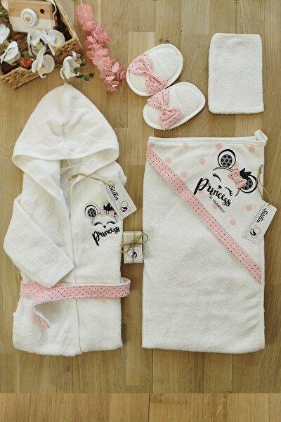 Kız Bebek Princess Nakışlı Bornoz Defne Sabunlu Set 0-3 Yaş