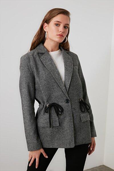 Antrasit Bağlama Detaylı Blazer Ceket TWOAW21CE0039