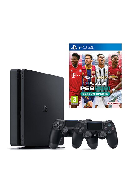 Playstation 4 Slim 1 TB + 2. PS4 Kol + PS4 Pes 2021