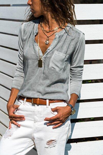 Kadın Grı Yıkamalı Tek Cep Bluz Gk-CCK60015