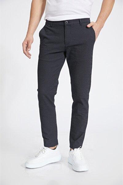 Erkek Lacivert Yandan Cepli Çizgili Seersucker Slim Fit Pantolon A02y3070