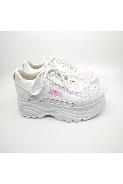 Soso Beyaz Simli Spor Ayakkabı