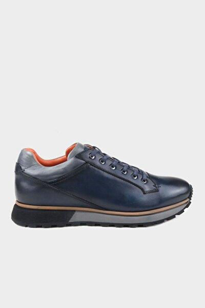 Lacivert Dogal Deri Taban Detaylı Erkek Deri Sneaker