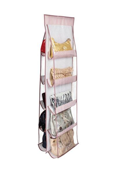 Çanta Saklama Organizeri - 10 Cepli Çanta Düzenleyici - 125x37cm -çizgili Model, Pembe