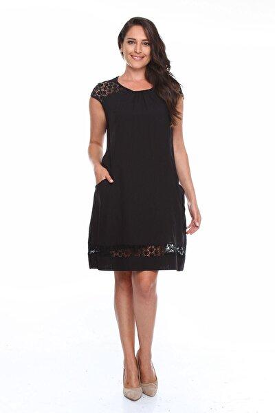 Güpürlü Büyük Beden Elbise Siyah