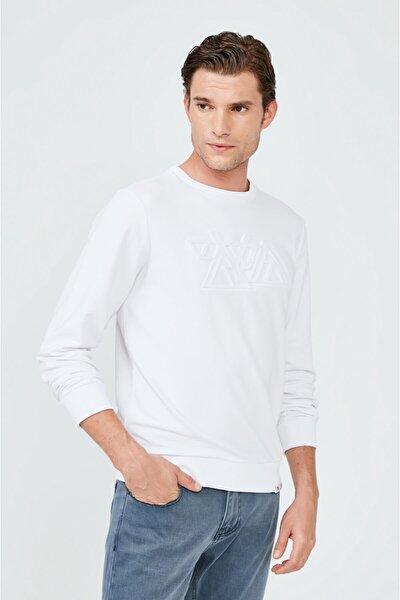 Erkek Beyaz Bisiklet Yaka Gofre Baskılı Sweatshirt A02y1063
