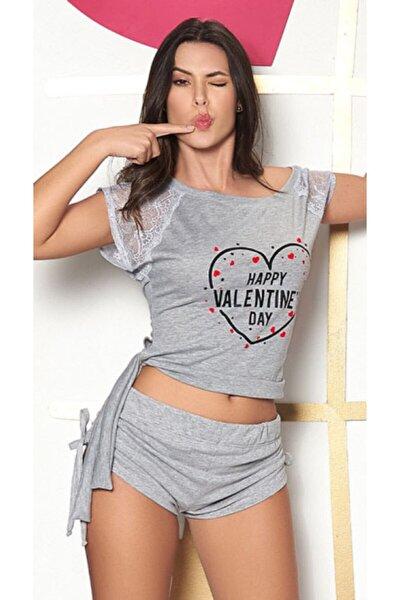 Happy Valentines Day Gri Koton Dantel Kısa Kol Şortlu Pijama Takım