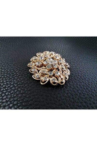 Zirkon Taşlı Altın Kaplama Broş Vintage