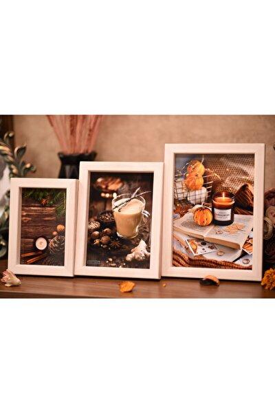 Fotoğraf Çerçevesi 3 Lü Set Ahşap Harika Ürünler Çam Ağacı Beyaz ( Camlı )