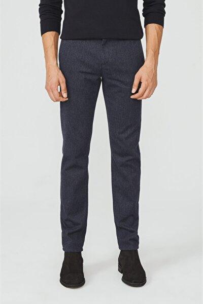Erkek Lacivert Yandan Cepli Flanel Slim Fit Pantolon A02y3057