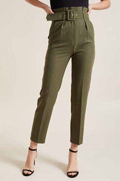 Kadın Haki Kemerli Yüksek Bel Kumaş Pantolon