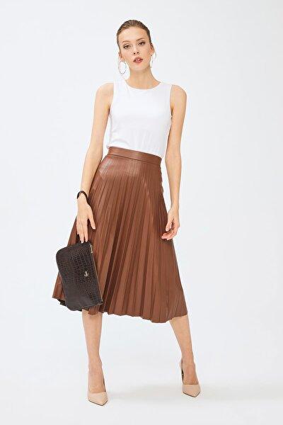 Kadın Basic Clutch Çanta Kroko Timsah Desen Koyu Kahverengi 214002