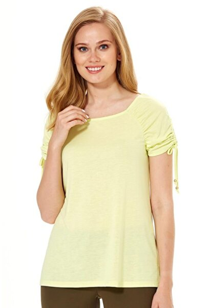 Kadın Açık Fıstık Yeşil Kolu Büzgülü Bağcıklı Bluz 018-1204
