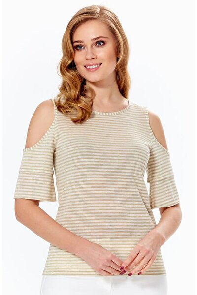 Kadın Kum Beji Omuzu Yırtmaçlı Volanlı Çizgili Bluz 018-1610