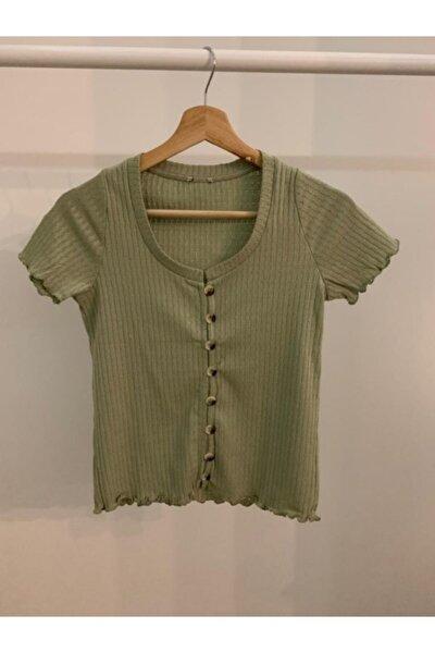Kadın Su Yeşili Düğmeli T-shirt - Eitsysl0661907