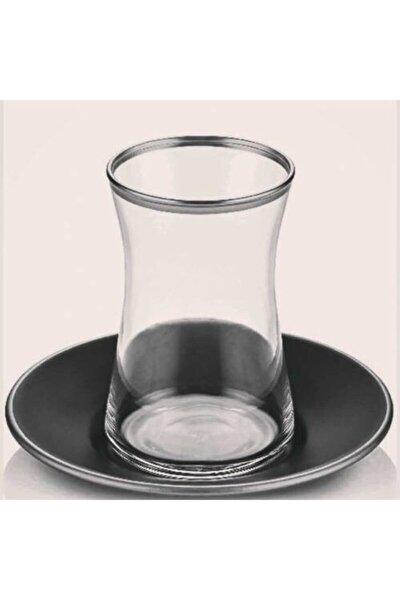 Heybeli Gümüş Siyah Tabaklı 12 Parça Çay Seti